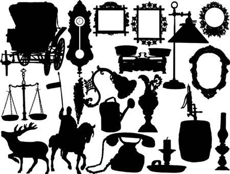 horseman: Los vectores de siluetas de los objetos retro Vectores