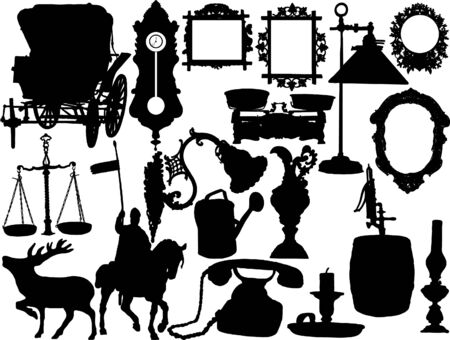 Vector silhouettes of the retro objects Vector