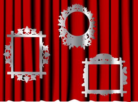 sateen: Three vector frames on the curtain Illustration