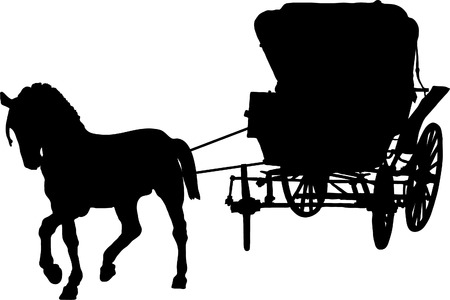 silouette: Carriage with the horse for princess