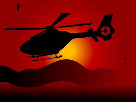 Helicopter against the dark sunset Vector