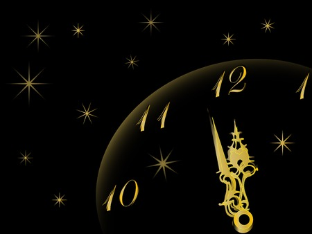 in midnight: New year clock in gold and black