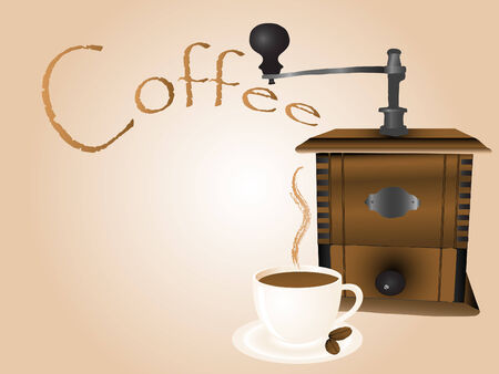 coffee mill: Old wooden coffee mill and cup Illustration