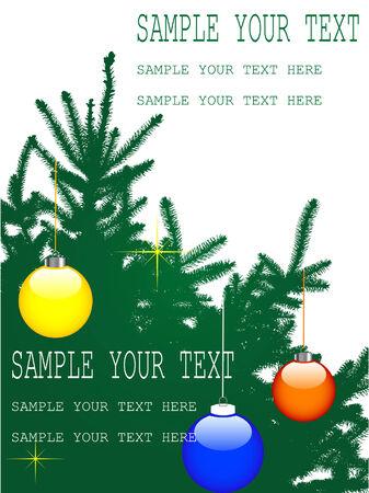 spruce: Tarjeta de Navidad con el abeto adornado Vectores