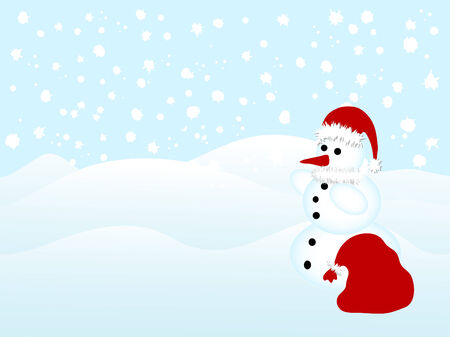Snowman with Santas hat and sack Vector