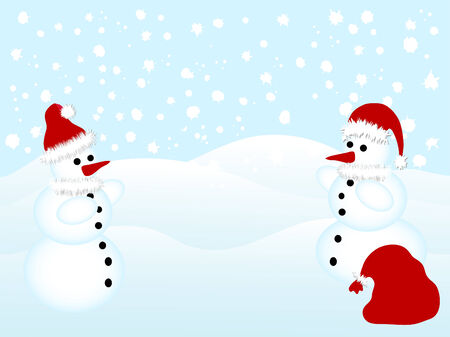 Two snowmen with Santa's hats and sack Stock Vector - 3853196