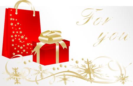 retail chain: Natale con carta regalo e luogo per il vostro testo Vettoriali