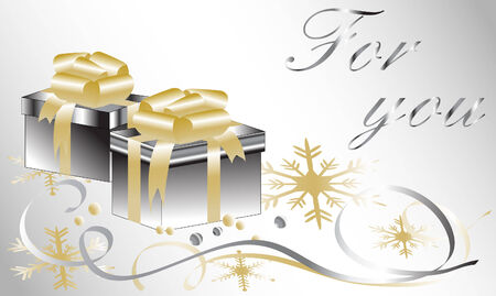 Christmas card with gift box and place for your text Vector