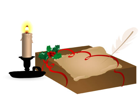 Gift box with candle and parchment Vector