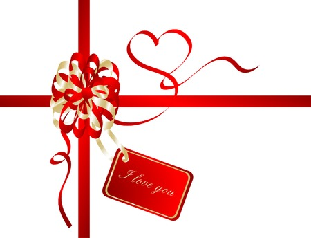 Red valentine ribbon - vector illustration Vector
