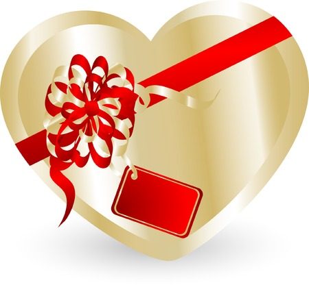 Valentine heart gift box - vector illustration Vector