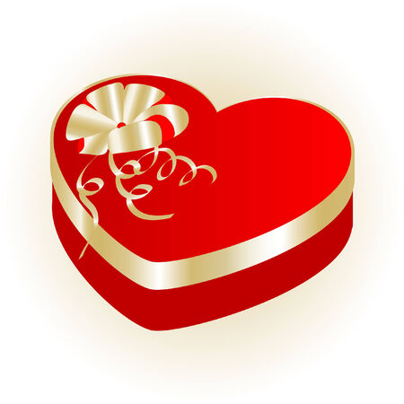 Valentine heart gift box - vector illustration Vector