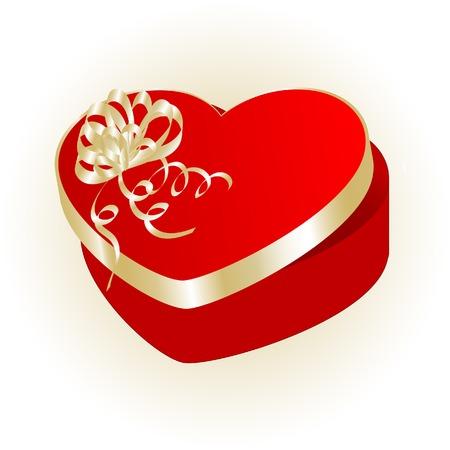 Valentine heart gift box - vector illustration