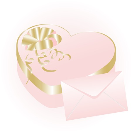 Rose heart gift box with envelope Vector
