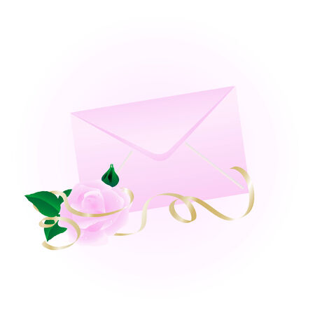 Rosy envelope with the rose Stock Vector - 3953457