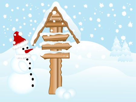 Snowman and the wooden signpost Vector