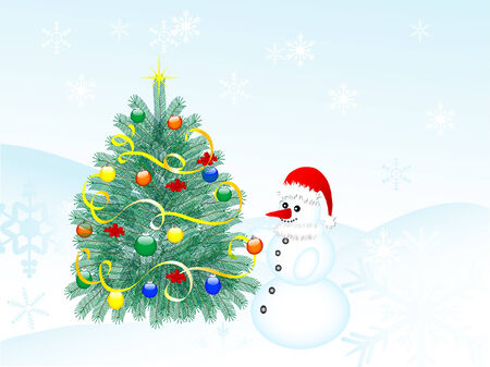 Snowman decorate the christmas tree Vector