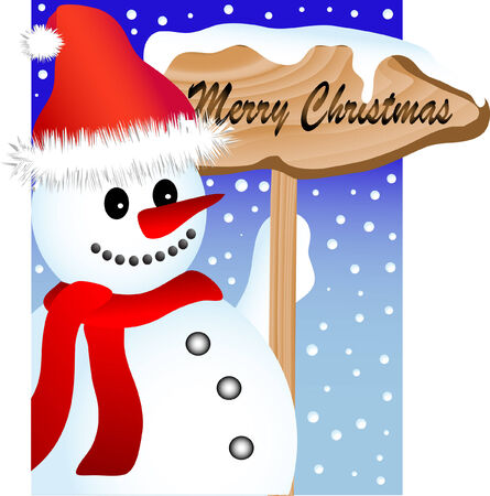 Snowman and the wooden signboard Vector