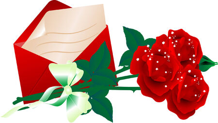 Envelope and bouquet of roses Vector