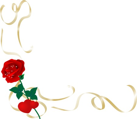 Border with hearts and rose - vector illustration Vector