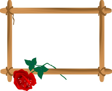 Wooden frame with broken rose Ilustracja