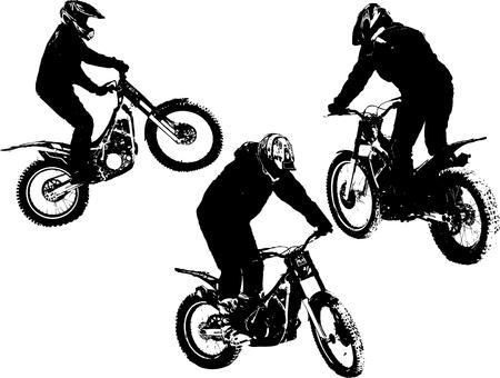 freeride: Vector siluetas de tres motobikers