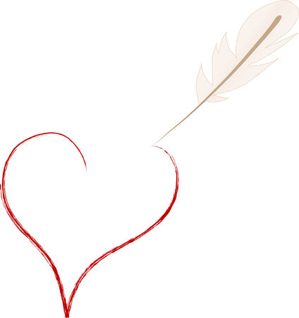 quill pen: Quill pen painting red heart