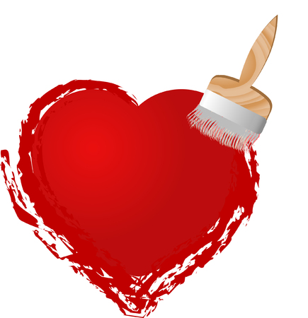 Wooden brush painting red heart Vector