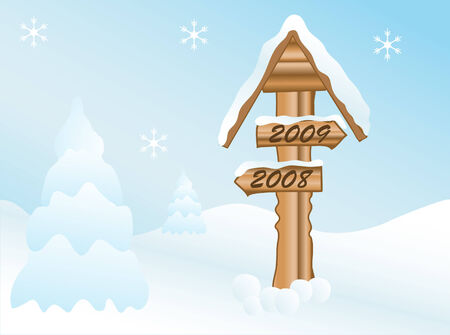 Signpost in the winter landscape Stock Vector - 4094129