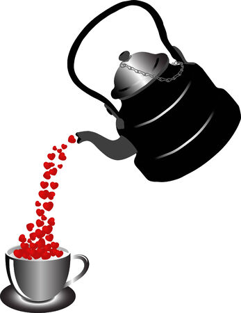 Vector illustration of teapot with hearts Vector