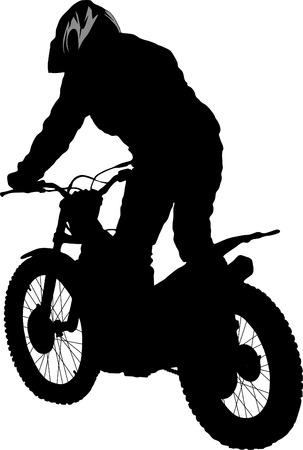 Vector silhouette of the motobiker Vector