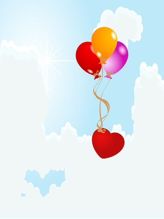 Balloons with heart on the cloudy sky Vector