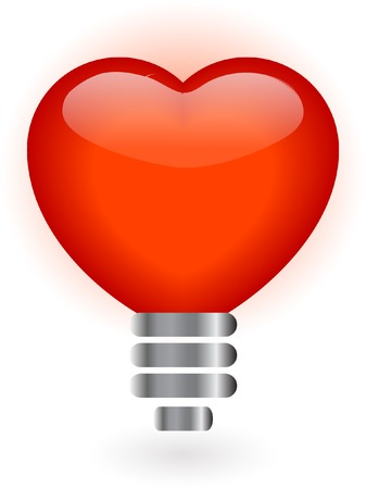 Heart in lightbulb - vector illustration Vector