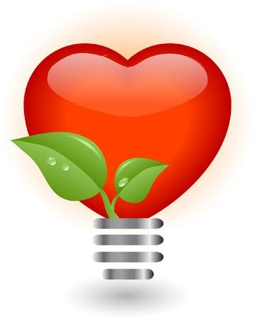 lightening: Coraz�n en bombilla - ilustraci�n vectorial