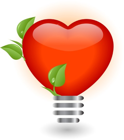 Heart in lightbulb - vector illustration Vector
