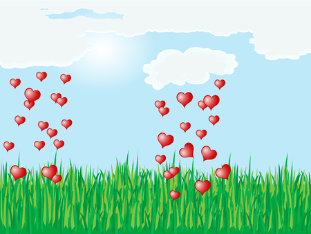 Heart rain over the meadow Vector
