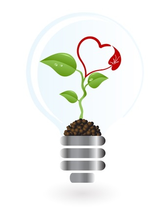 Plant with heart blossom in lightbulb Vector