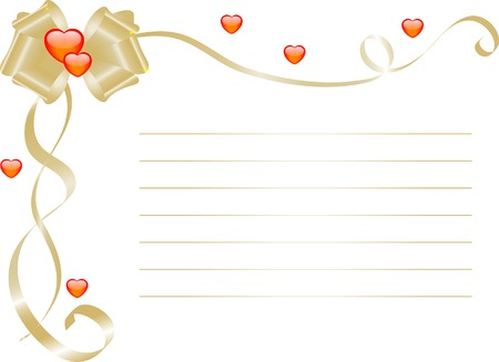 name day: Love letter with bow and hearts