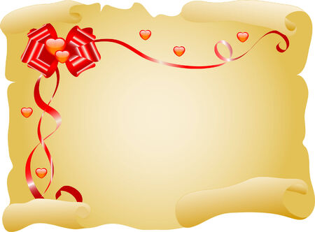 Love letter with bow and hearts Vector