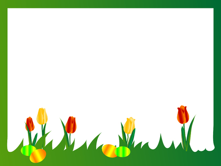 Easter frame with tulips and eggs Vector