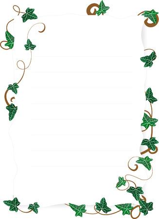 yedra: Ilustraci�n vectorial de la p�gina con hojas de hiedra
