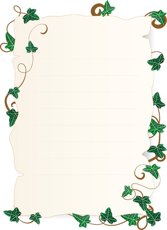 Vector illustration of page with ivy leaves