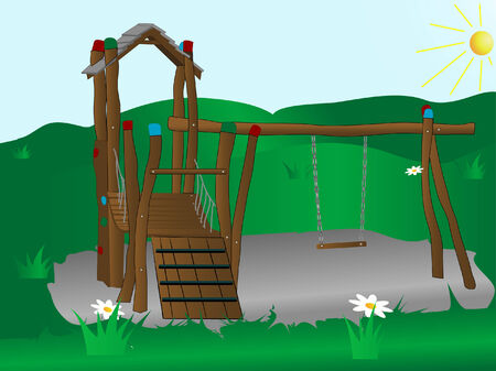 Wooden children playground - vector illustration Illustration