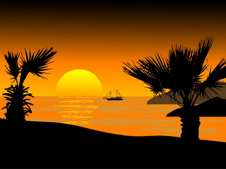 Sunset on the beach - vector illustration Vector