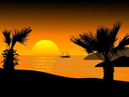 wavelet: Sunset on the beach - vector illustration