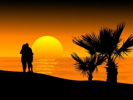 Puesta de sol en la playa - ilustración vectorial