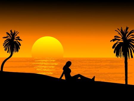botany woman: Sunset on the beach - vector illustration