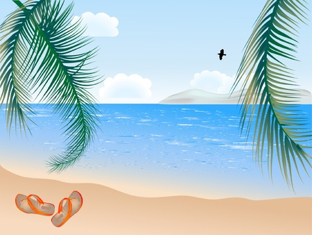 flipflop: Summer beach with palms - vector illustration Illustration