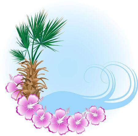 Letnia plaża w ramce - ilustracji wektorowych