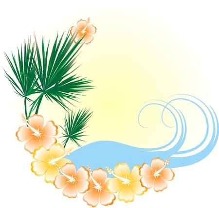 Summer beach in frame - vector illustration
